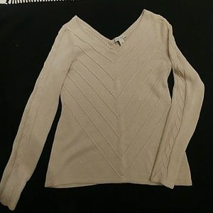 Gold specs in creamy knit, romantic sweater